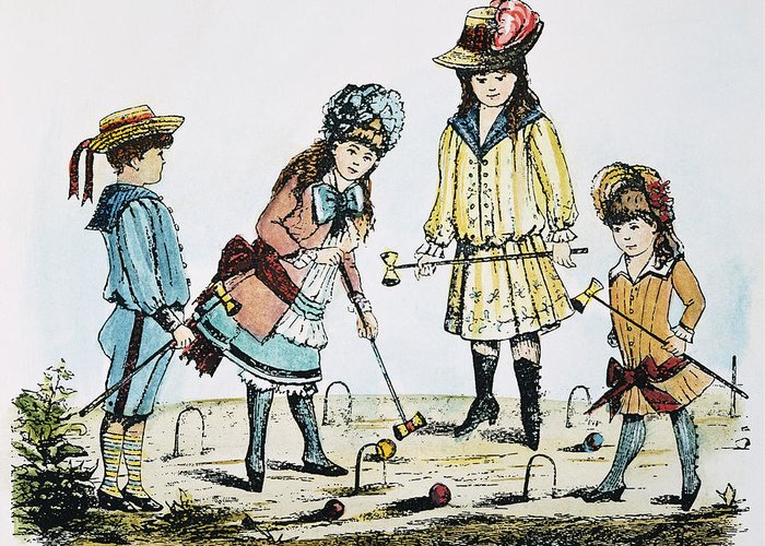 19th Century Greeting Card featuring the photograph Children Playing Croquet by Granger