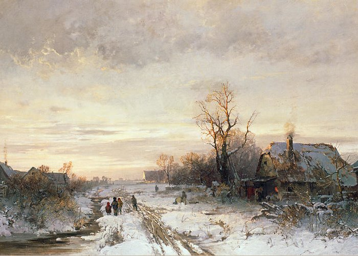 Children Greeting Card featuring the painting Children Playing In A Winter Landscape by August Fink