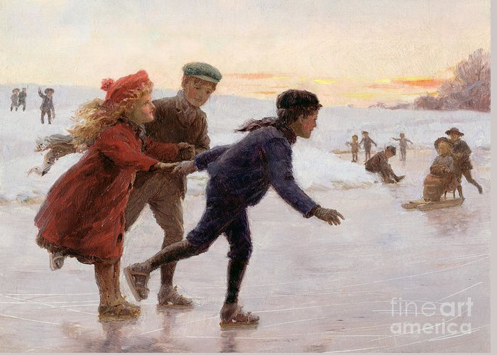 Children Greeting Card featuring the painting Children Skating by Percy Tarrant