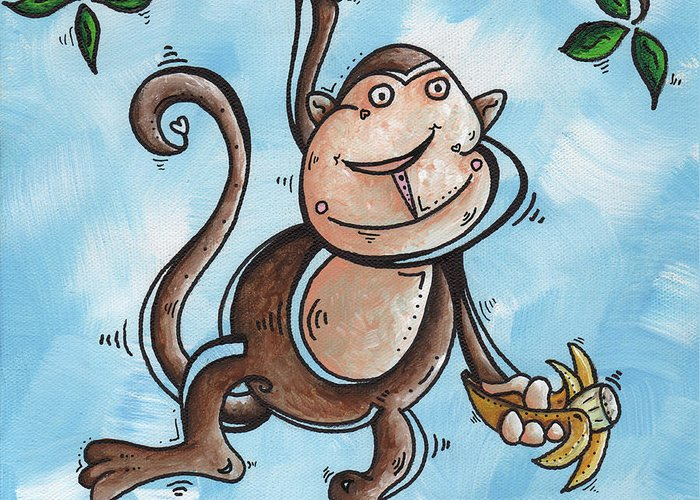 Childrens Greeting Card featuring the painting Childrens Whimsical Nursery Art Original Monkey Painting Monkey Buttons By Madart by Megan Duncanson