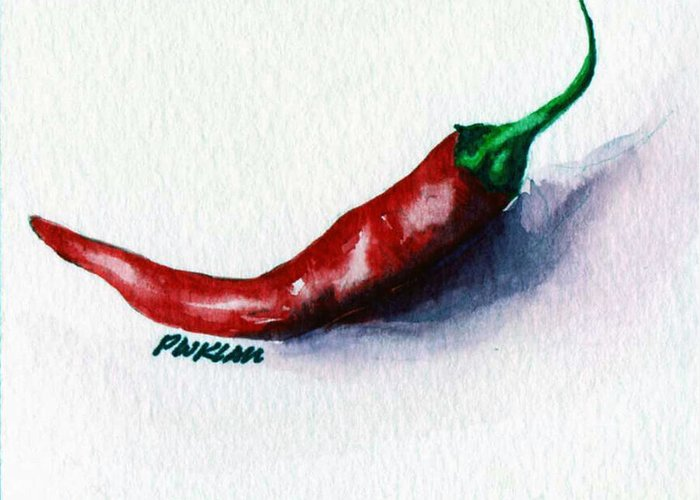 Chili Greeting Card featuring the painting Chili Pepper Red 001 - Mini Study by Peter Lau