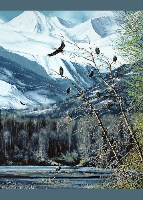 Eagle Greeting Card featuring the painting Chilkat River Eagles by Bob Patterson