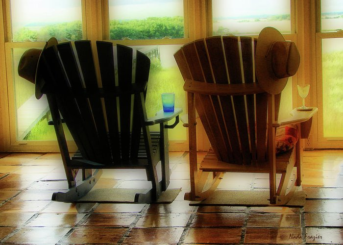 Cedar Key; Rocking Chairs Greeting Card featuring the photograph Chillax by Nada Frazier