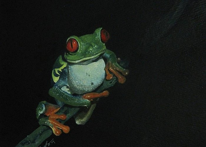 Frog Greeting Card featuring the painting Chilling by Richard Ong