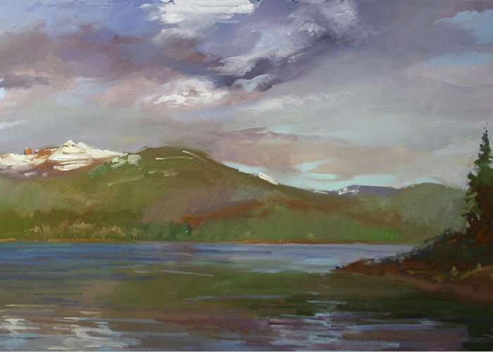 Murals Greeting Card featuring the painting Chimney Rock At Priest Lake Plein Air by Betty Jean Billups