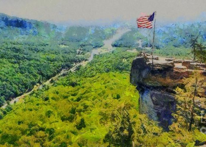 Chimney Rock North Carolina Greeting Card featuring the painting Chimney Rock Nc by Elizabeth Coats