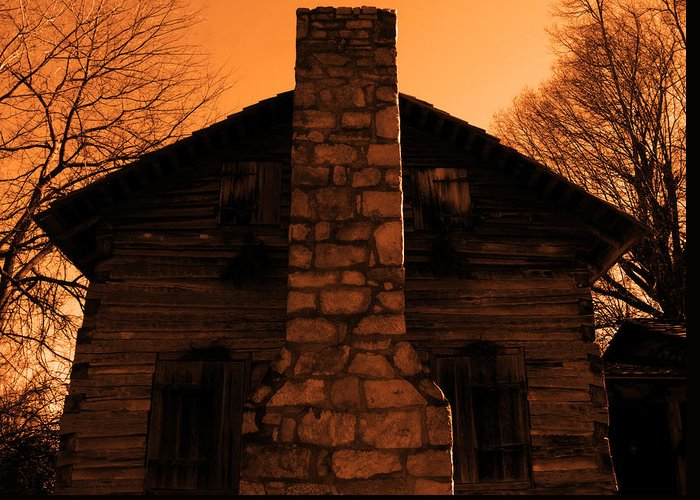 Log Cabin Greeting Card featuring the photograph Chimney Sky In Sepia by Jason Wade