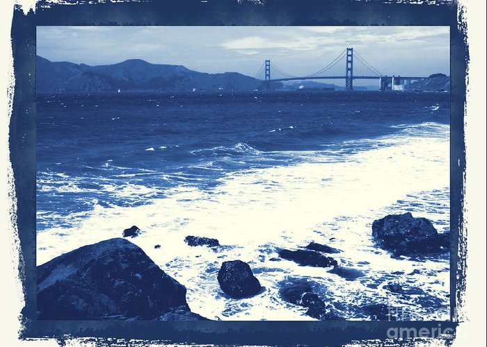 San Francisco Greeting Card featuring the photograph China Beach And Golden Gate Bridge With Blue Tones by Carol Groenen