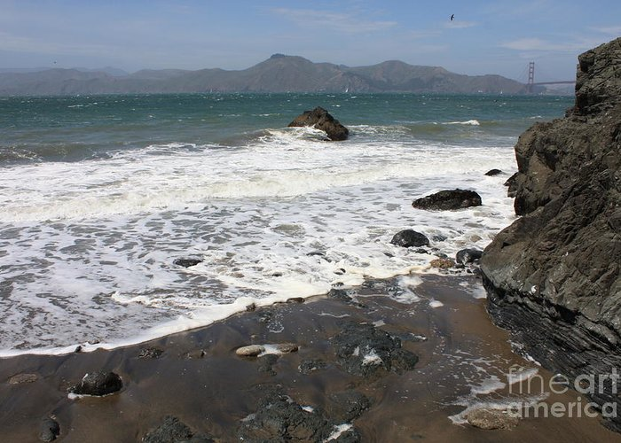 San Francisco Greeting Card featuring the photograph China Beach With Outgoing Wave by Carol Groenen