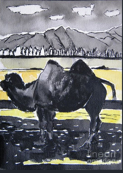 Animal Greeting Card featuring the painting China Silk Road by Lesley Giles