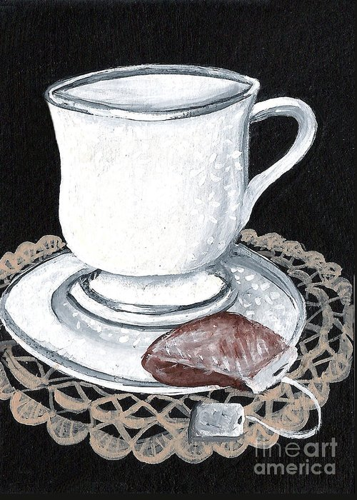 Cup Greeting Card featuring the painting China Tea Cup by Elaine Hodges