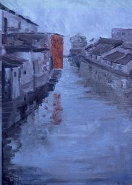 The Venice Of The West On The Tongli River In China Greeting Card featuring the painting China Tongli River Charm by Bryan Alexander