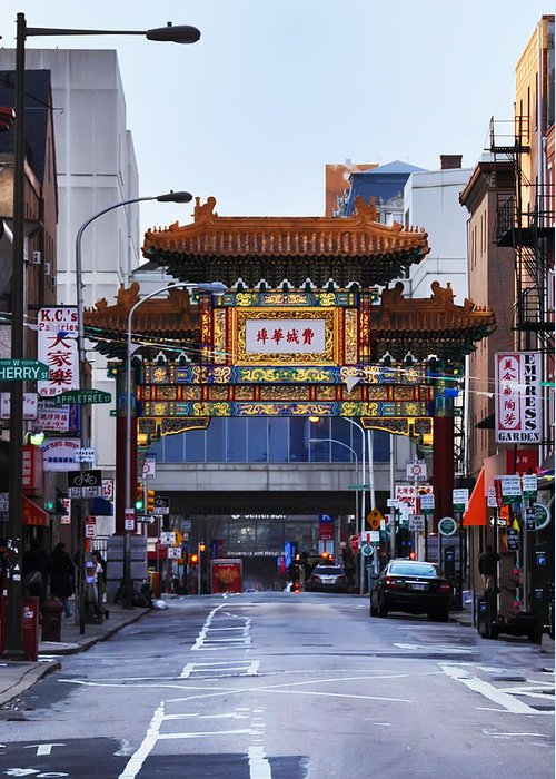 Chinatown Greeting Card featuring the photograph Chinatown - Philadelphia by Bill Cannon