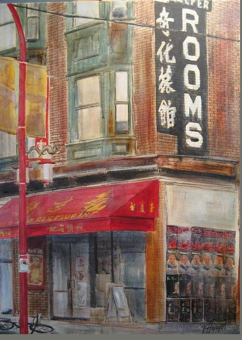 Rooming House Greeting Card featuring the painting Chinatown 1 by Victoria Heryet