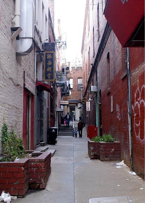 San Francisco Greeting Card featuring the photograph Chinatown Alley by Sonja Anderson