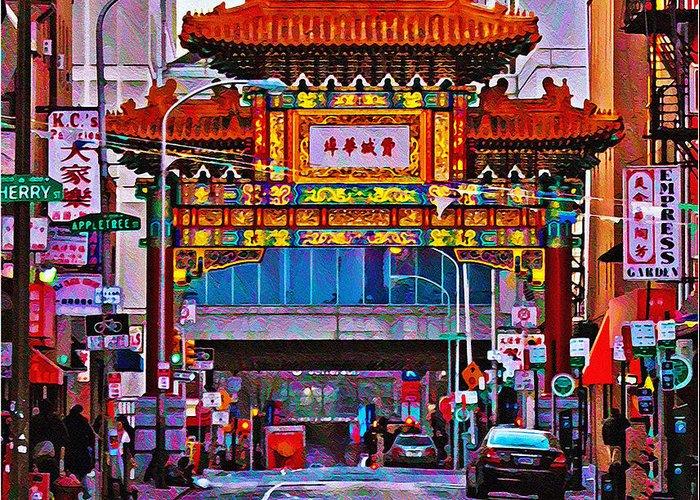 Chinatown Arch Philadelphia Greeting Card featuring the photograph Chinatown Arch Philadelphia by Bill Cannon