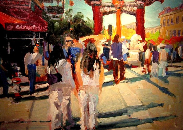 Landscape Paintings Greeting Card featuring the painting Chinatown by Brian Simons