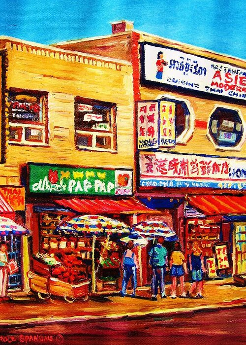 Montreal Greeting Card featuring the painting Chinatown Markets by Carole Spandau