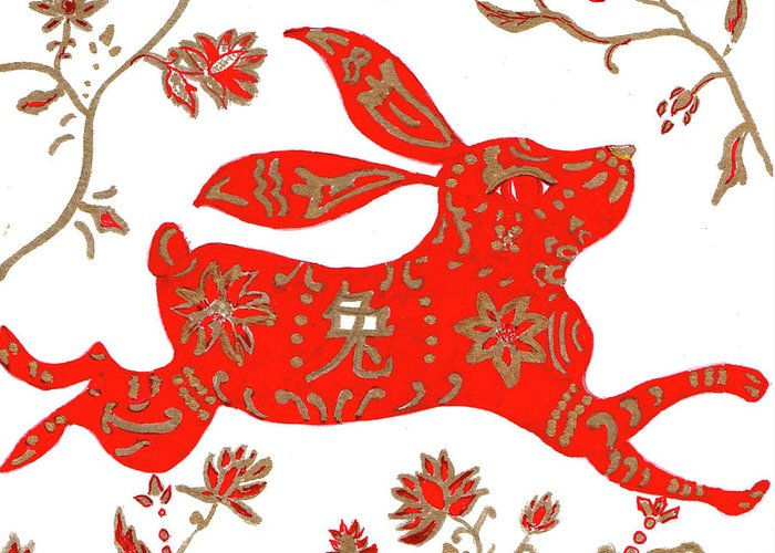 Chinese Greeting Card featuring the drawing Chinese Astrology Rabbit by Barbara Giordano