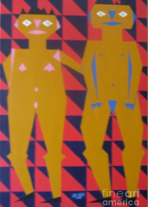Abstract Greeting Card featuring the painting Chinese Couple Walking by Neil Trapp