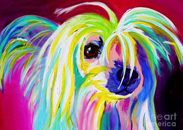 Dog Greeting Card featuring the painting Chinese Crested - Fancy Pants by Alicia VanNoy Call