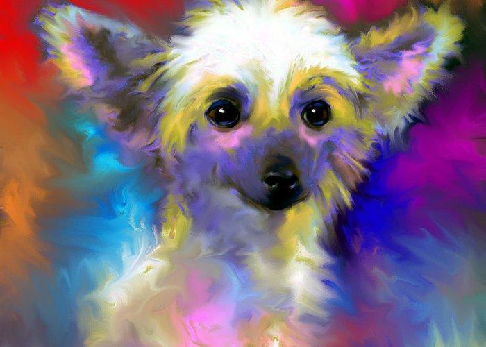 Chinese Crested Dog Gifts Greeting Card featuring the painting Chinese Crested Dog Puppy Painting Print by Svetlana Novikova