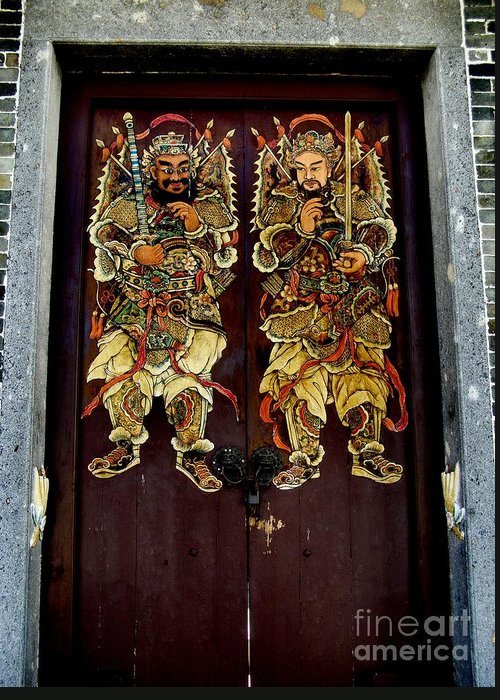 Chinese door gods greeting card for sale by kathy daxon old temple door doors way god angel protection painting hong kong greeting card featuring the photograph m4hsunfo