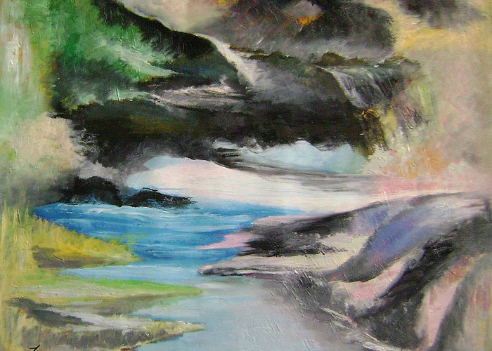 Abstract Greeting Card featuring the painting Chinese Landscape 1 by Lian Zhen