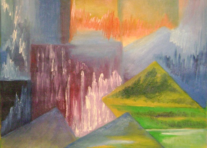 Abstract Greeting Card featuring the painting Chinese Landscape 3 by Lian Zhen