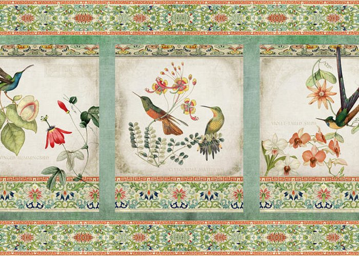 Chinese Ornamental Paper Greeting Card featuring the digital art Triptych - Chinoiserie Vintage Hummingbirds N Flowers by Audrey Jeanne Roberts