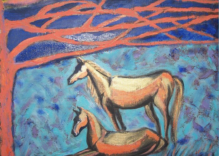 Horse Greeting Card featuring the painting Chinook Is Coming by Aliza Souleyeva-Alexander