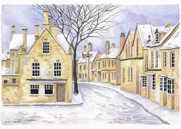 Chipping Campden Greeting Card featuring the painting Chipping Campden In Snow by Scott Nelson