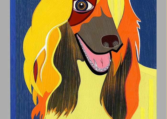 Pop Art Greeting Card featuring the painting Chloe The Afghan Hound by Ruby Persson
