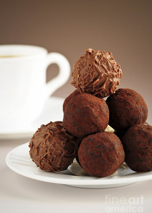 Chocolate Greeting Card featuring the photograph Chocolate Truffles And Coffee by Elena Elisseeva