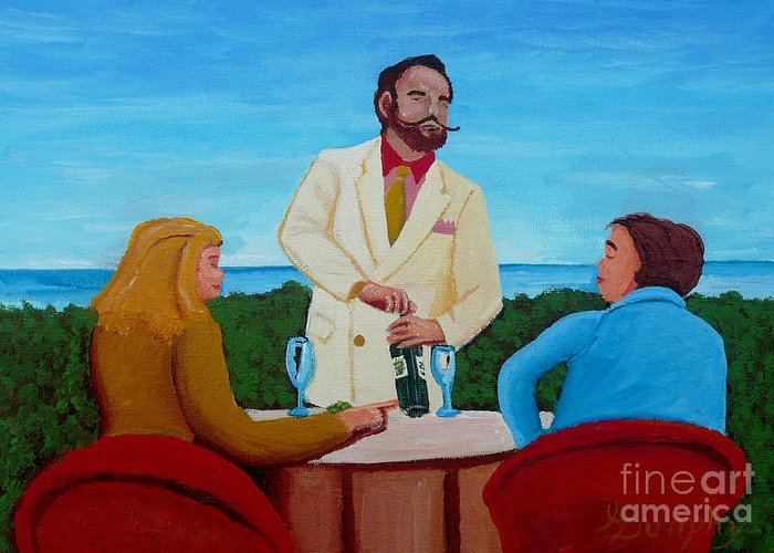 Wine Greeting Card featuring the painting Choosing The Wine by Anthony Dunphy