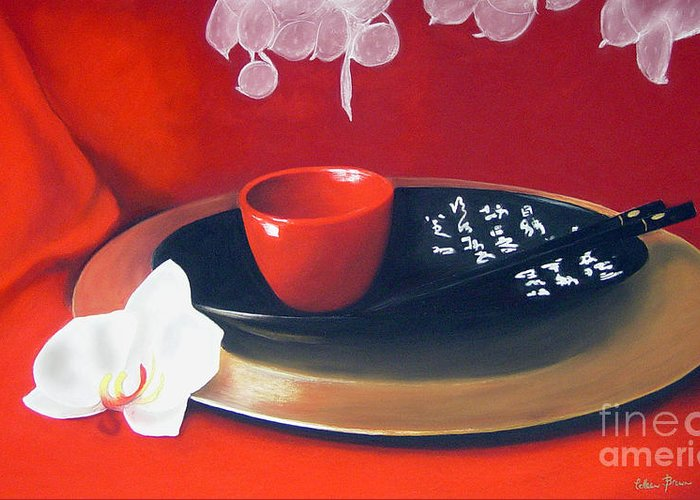 Still Life Greeting Card featuring the painting Chopsticks by Colleen Brown