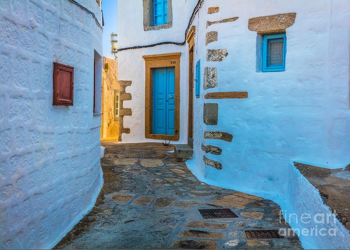 Aegean Sea Greeting Card featuring the photograph Chora Alley by Inge Johnsson