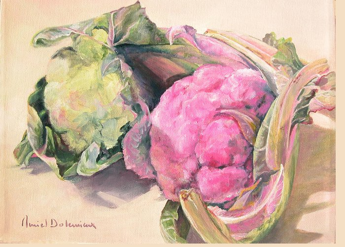 Flower Greeting Card featuring the painting Choux by Muriel Dolemieux