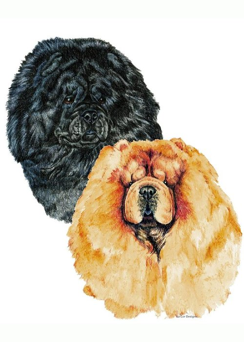 Chow Chow Greeting Card featuring the painting Chow Chows by Kathleen Sepulveda