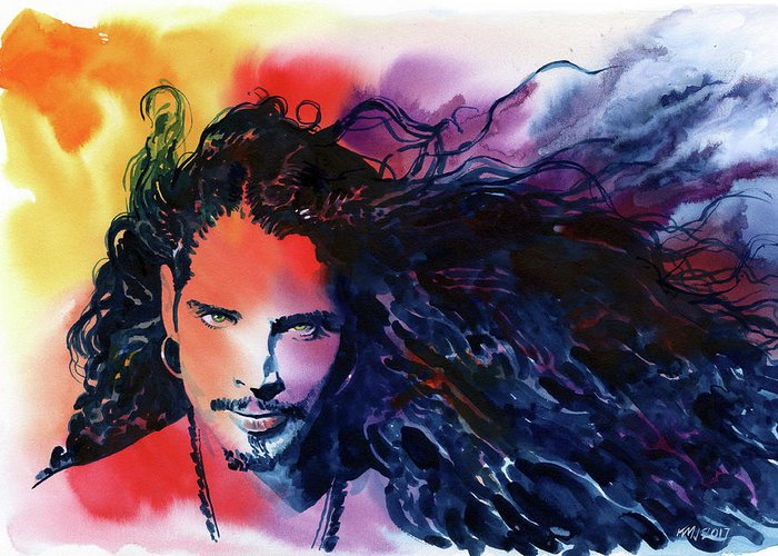 Soundgarden Greeting Card featuring the painting Chris Cornell by Ken Meyer jr