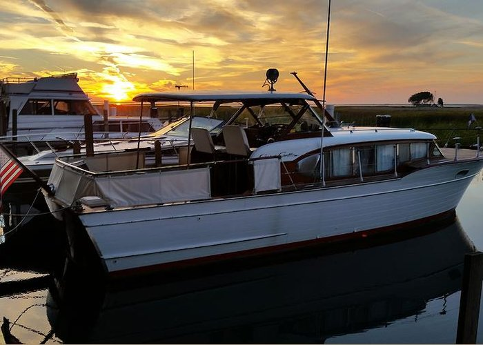 Chris Craft Greeting Card featuring the photograph Chris Craft In The Evening by Dawn Stone