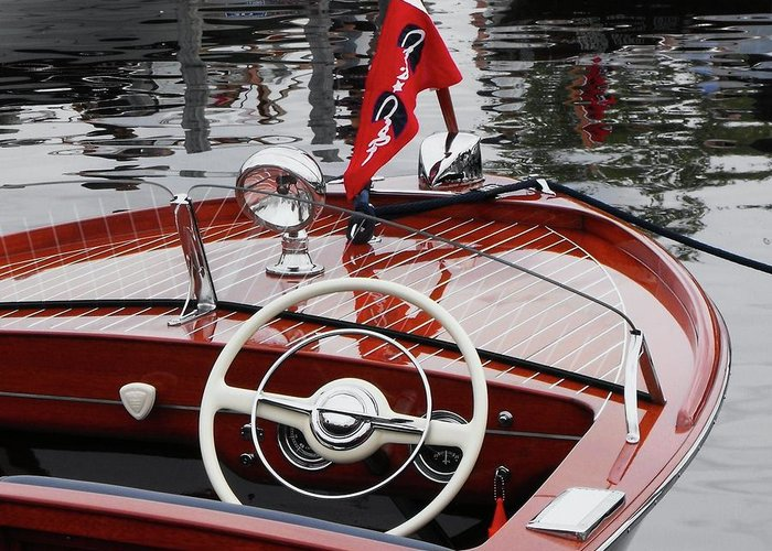 Boat Greeting Card featuring the photograph Chris Craft Sportsman by Neil Zimmerman