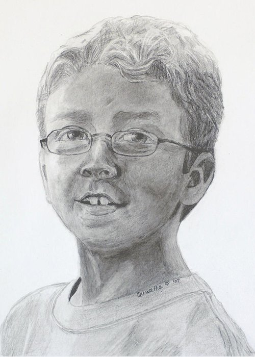 Chris Greeting Card featuring the drawing Chris Dovick by Quwatha Valentine