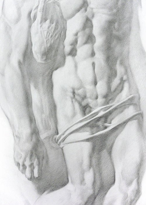 Nude Greeting Card featuring the drawing Christ 1b by Valeriy Mavlo