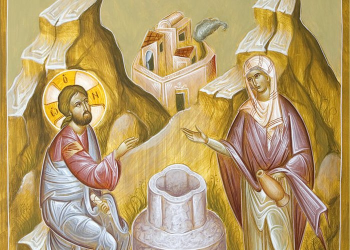 Christ And The Samaritan Woman Greeting Card featuring the painting Christ And The Samaritan Woman by Julia Bridget Hayes