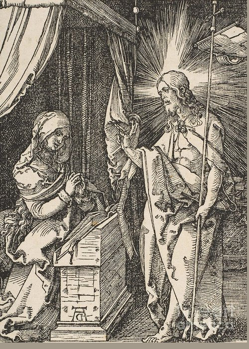 Albrecht Durer Greeting Card featuring the drawing Christ Appearing To His Mother, From The Small Passion by Albrecht Durer