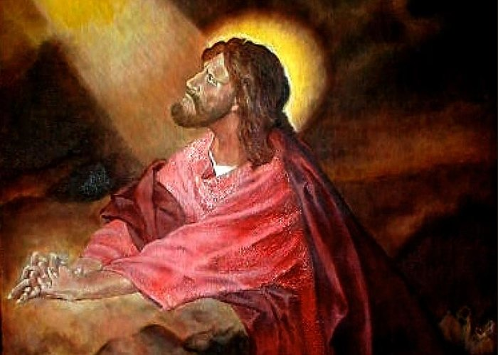 Christ Greeting Card featuring the painting Christ At Gethsemane by G Cuffia
