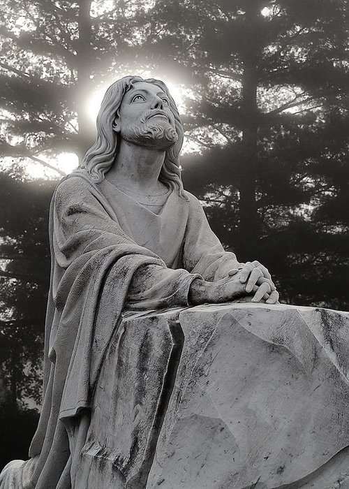 Jesus Christ Greeting Card featuring the photograph Christ At Prayer by Robert Suits Jr