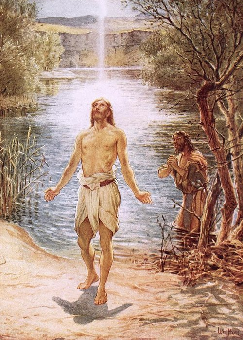 Christ Baptised By John The Baptist By William Brassey Hole (1846-1917)lake Greeting Card featuring the painting Christ Baptised By John The Baptist by William Brassey Hole