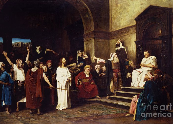 Christ Greeting Card featuring the painting Christ Before Pilate by Mihaly Munkacsy